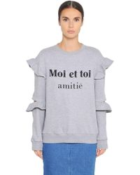 Steve J & Yoni P - Cotton Sweatshirt W/ Ruffled Sleeves - Lyst