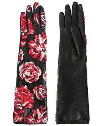 Lanvin | Shiny Floral Jacquard Gloves | Lyst