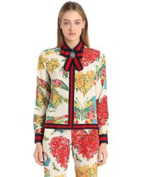 Gucci - Floral Printed Silk Cady Crepe Shirt - Lyst