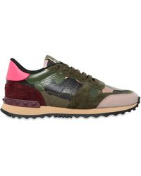 Valentino - Rockrunner Canvas & Leather Trainers - Lyst