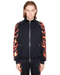 Moschino - Flames Printed Studded Track Jacket - Lyst