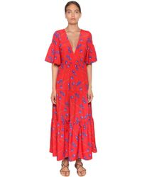 Borgo De Nor - Orchid Printed Crepe Long Dress - Lyst