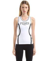 Fendi | Embossed Logo Stretch Jersey Tank Top | Lyst
