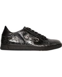 Versus - Safety Pin Crackled Leather Sneakers - Lyst