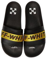 Off-White c/o Virgil Abloh - Logo Webbing Leather Slide Sandals - Lyst