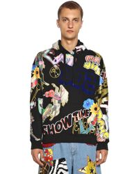 Moschino - Printed & Flocked Cotton Sweater W/ Hood - Lyst