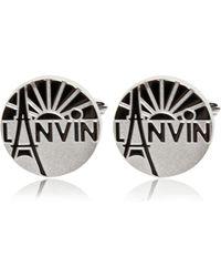 Lanvin - Engraved enameled brass cufflinks - Lyst