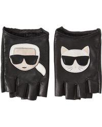 Karl Lagerfeld - K/ikonik Fingerless Leather Gloves - Lyst