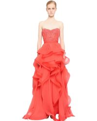 Reem Acra - Embellished Lace & Silk Chiffon Dress - Lyst