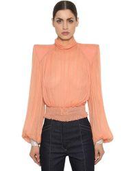 Nina Ricci - Silk Chiffon Shirt W/ Crystal Cuffs - Lyst