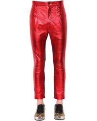 Haider Ackermann - Skinny Metallic Leather & Suede Pants - Lyst