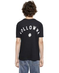 Ports 1961 - Printed Back Cotton Blend Jersey T-shirt - Lyst