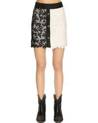 Fausto Puglisi - Lace & Linen Mini Skirt - Lyst