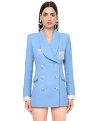 Alessandra Rich - Double Breasted Double Wool Blazer - Lyst