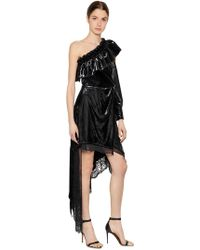 Self-Portrait - Ruffled Metallic Velvet & Lace Dress - Lyst