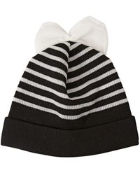 Federica Moretti - Striped Cotton Blend Beanie Hat With Bow - Lyst