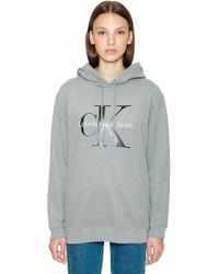 Calvin Klein - Hooded Logo Printed Cotton Sweatshirt - Lyst