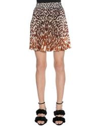 Marco De Vincenzo - Leopard Printed Plissé Satin Skirt - Lyst