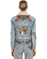 Gucci - Embroidered Denim & Shearling Jacket - Lyst