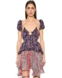 Y. Project - Open Back Drawstring Floral Satin Top - Lyst