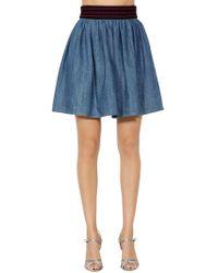Miu Miu - Cotton Denim Skirt W/ Elastic Waistband - Lyst