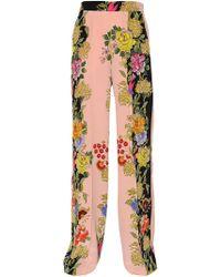 Etro - Floral Printed Silk Crepe De Chine Pants - Lyst