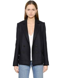Helmut Lang - Heavy Flannel Wool Peacoat - Lyst