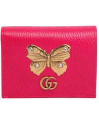 Gucci - Butterfly Leather Card Case - Lyst