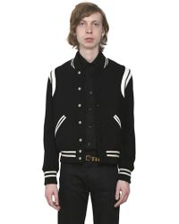 Saint Laurent - Teddy Wool Jacket W/ Striped Details - Lyst