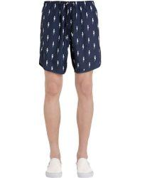 Neil Barrett - Bolts Printed Nylon Swim Shorts - Lyst