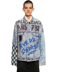 Balenciaga - Over Hand-drawn Graffiti Denim Jacket - Lyst