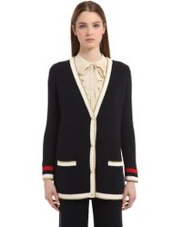 Gucci - Embroidered Oversize Knitted Cardigan - Lyst