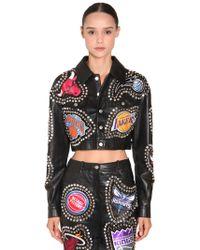 Jeremy Scott - Studs & Patches Cropped Leather Jacket - Lyst