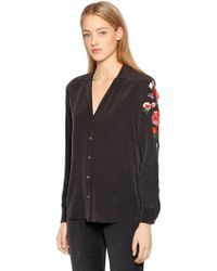 Equipment - Adalyn Floral Embroidered Silk Shirt - Lyst