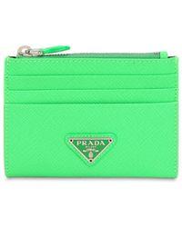 Prada - Triangle Logo Saffiano Card Case - Lyst