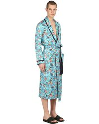 Loretta Caponi - Floral Printed Silk Satin Kimono Robe - Lyst