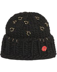 Maria Francesca Pepe - Wool Knit Beanie With Piercings - Lyst