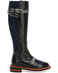 Lanvin - 25mm Patent Leather & Suede Tall Boots - Lyst