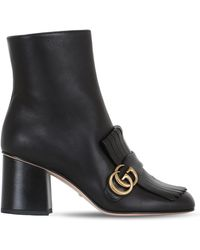 Gucci | 75mm Marmont Fringed Leather Boots | Lyst