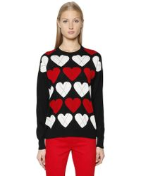 Love Moschino | Heart Argyle Wool Knit Sweater | Lyst