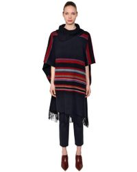 Tory Burch - Striped Wool Poncho W/ Stripes - Lyst