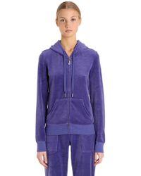 Juicy Couture - Embellished Zip-up Velour Sweatshirt - Lyst