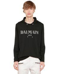 Balmain - Logo Print Hooded Cotton Jersey T-shirt - Lyst