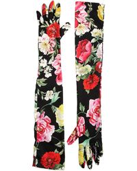 Dolce & Gabbana - Floral Printed Charmeuse Long Gloves - Lyst
