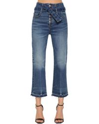 Veronica Beard - Belted High Waist Cropped Denim Jeans - Lyst