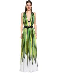 Elie Saab - Printed Double Georgette Dress - Lyst