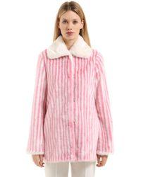 Marco De Vincenzo - Striped Faux Fur Coat - Lyst