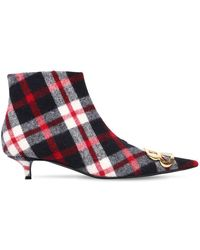 Balenciaga - 40mm Bb Checked Flannel Ankle Boots - Lyst