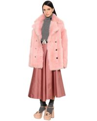 Rochas - Double Breasted Shearling Coat - Lyst