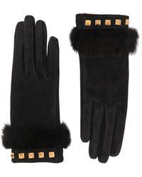 Mario Portolano | Suede Gloves With Mink Fur & Studs | Lyst
